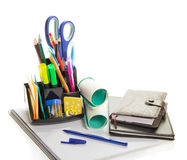 Office supply, diary and the notepad Stock Photos