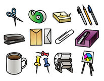 Office Supply Icons. 12 colorful cartoon office supply icons vector illustration