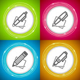 Office Supply. Objects - Ballpoint pen, Fountain Pen, Pencil, Technical Pen Royalty Free Stock Photography