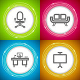 Office Supply. Objects: Office chair, Sofa, Desk, Board Stock Photography