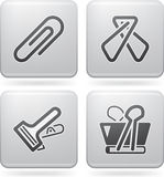Office Supply. Objects: 4 different kind of paper clip Royalty Free Stock Photo