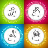Office Supply. Objects - 4 different kind of paper clip Stock Photo