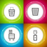 Office Supply. Objects: ruler, Shredder, Bin, Cupboard, Water dispenser Stock Images