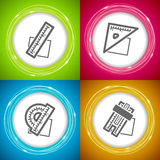 Office Supply. Objects - ruler, square, protractor, slide rule Royalty Free Stock Photos