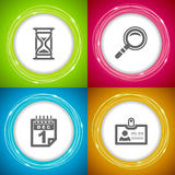 Office Supply. Objects: Sandglass, Loupe, Calendar, Indetifer Royalty Free Stock Images