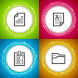Office Supply. Objects: Spreadsheet, Text document, Check list, Files folder Stock Images