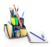 Office supply in support and sketchpad Royalty Free Stock Photos