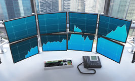 Office with switched on monitors, processing data for trading, Stock Images
