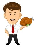 Office Worker holding roasted thanksgiving turkey Stock Photos