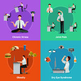 Office Syndrome 2x2 Design Concept. Office syndrome 2x2 flat design concept set of diseases as results of sedentary work vector illustration Royalty Free Stock Image