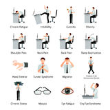 Office Syndrome Flat Icons Set Stock Images
