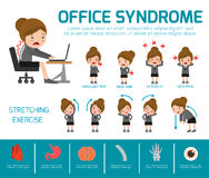 Office syndrome. health care concept. infographic element. vector flat icons woman cartoon design. brochure poster banner vector illustration