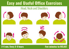 Office syndrome infographic. Exercises with businessman. Vector health concept Royalty Free Stock Photo
