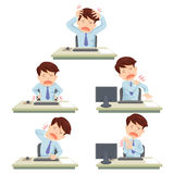 Office syndrome. Office man working hard officesyndrome Royalty Free Stock Images