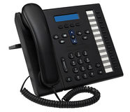 Office system IP phone with blue empty display Royalty Free Stock Photos