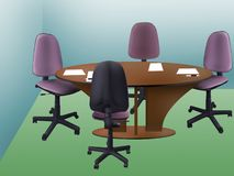 Office table. Furniture - office table for meetings and four chairs Stock Photo
