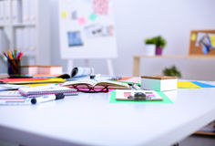 Office table with blank notepad and laptop Royalty Free Stock Photos