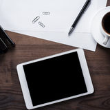 Office table of businessman with tablet computer Royalty Free Stock Photography
