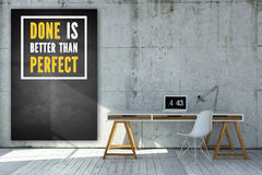 Office table and a chalkboard with the message 'Done is better than perfect'. Rendered office table and a chalkboard with the message 'Done is better than vector illustration