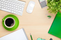 Office table with coffee cup, computer and flower Royalty Free Stock Photo