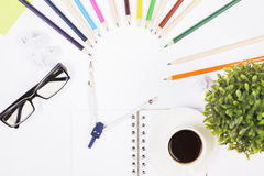 Office table with colorful items Royalty Free Stock Photography