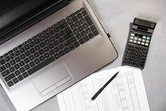 Office table with computer and calculator. Top view royalty free stock photos