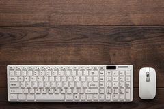 Office table with computer keyboard and mouse Stock Photos