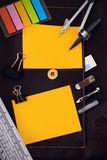 Office table desk with set of Office Stationery or Math Supplies. Royalty Free Stock Photography