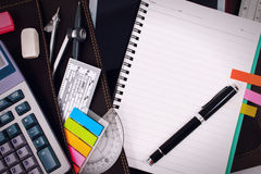 Office table desk with set of Office Stationery or Math Supplies. Stock Image