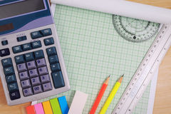Office table desk with set of Office Stationery or Math Supplies. Stock Photo