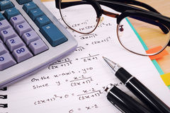 Office table desk with set of Office Stationery or Math Supplies. Royalty Free Stock Photo