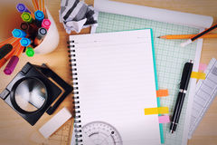 Office table desk with set of Office Stationery or Math Supplies. Royalty Free Stock Images