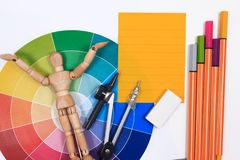 Office table desk with set of tools for creative art work . Stock Image