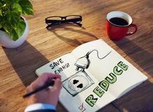 Office Table with Energy Conservation Concept.  Royalty Free Stock Photos