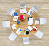 Office Table with Equpments and Documents Stock Photos