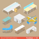 Office table flat  isometric furniture Stock Photos