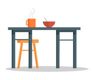 Office Table with Hot Coffee Cup and Bowl of Soup. Empty chair, office table with hot cup of tea or coffee and bowl of soup or porridge. Place for food Stock Images