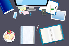 Office table with office equipment Stock Photo