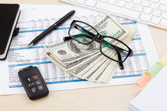 Office table with pc, supplies and money cash Stock Photography