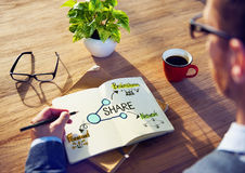 Office Table with Sharing Concept Stock Photos