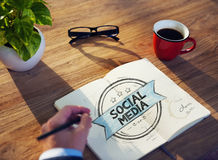 Office Table with Social Media Concept Royalty Free Stock Photography