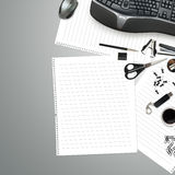 Office table with stationery Stock Images