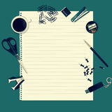 Office table with stationery accessories Stock Image