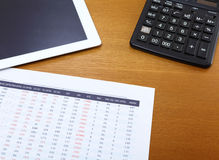 Office table with tablet, calculator and data chart Royalty Free Stock Photos