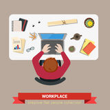 Office table vector flat top view businessman laptop workplace Stock Photography