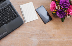 Office table, View from above with copy space Royalty Free Stock Photos