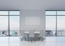 Office with table. White office with table and charts Royalty Free Stock Photos