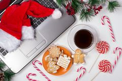 Free Office Table With Computer. Christmas Background Stock Photography - 131924192