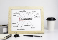 Office table with wooden frame, leadership concept stock image