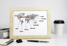 Office table with wooden frame, success concept Stock Image